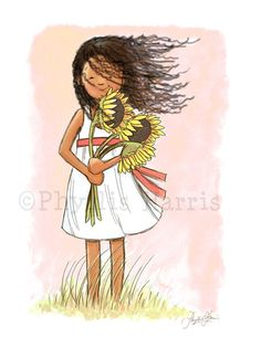 Childrens Wall Art Print  Sunflower Girl  by PhyllisHarrisDesigns, $25.00