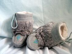 Soft Grey Suede Baby Mukluk Boots -- CUTE!!!