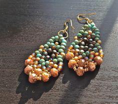 women handmade gypsy beaded brown czeck blue earring by fatash1