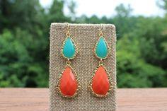 Peach Roots - Orange/Turquoise Two Stone Teardrop Earrings, $11.50 (http://peachroots.com/orange-turquoise-two-stone-teardrop-earrings/)