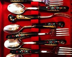 Antique Vintage 1960's Jezzine Handcarved bird of Phoenix silver flatware set for six from lebanon