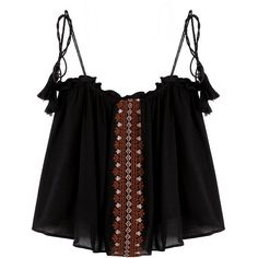 Yoins Embroidery Sleeveless Cami Top with Tassel Detail Belt (46 BRL) ❤ liked on Polyvore featuring tops, yoins, black, tassel top, print cami, embroidered top, camisole tank and sleeveless tank