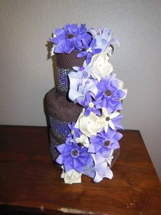 80 best florigami fashions images on pinterest floral arrangement wedding towel cake with origami flowers by florigamifashions mightylinksfo