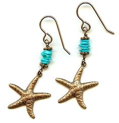 jewelry+designs+earrings+turquoise+crackle+beads   home earring design ideas starfish turquoise starfish turquoise