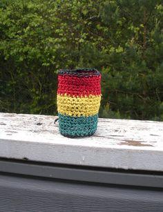Crochet extra wide hemp bracelet in traditional Rasta by luvbuzz, $20.00