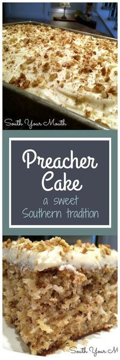 Preacher Cake - Tender, moist cake with crushed pineapple, pecans & coconut with a cream cheese frosting. An old Southern tradition to make this cake when the preacher comes by for a visit. 13 Desserts, Brownie Desserts, Delicious Desserts, Southern Desserts, Southern Recipes, Brownie Frosting, Desserts For A Crowd, Southern Food, Party Desserts