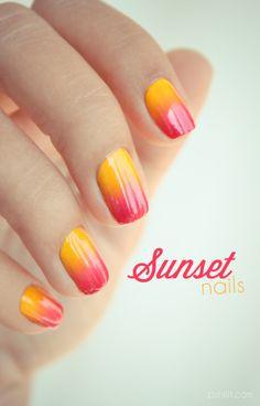 Decorado de uñas sunset. #nailart #manicura #uñas #esmalte