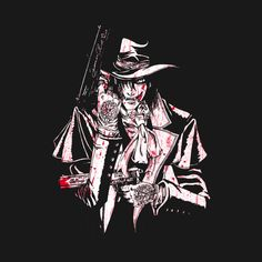Shop MYSTERIOUS anime t-shirts designed by bradixarttees as well as other anime merchandise at TeePublic. Manga Anime, Anime Naruto, Hellsing Alucard, Van Hellsing Anime, Ichigo Kurosaki Wallpaper, Witchy Wallpaper, Anime Merchandise, Dracula, Cool Pictures