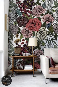 Autumn flowers wall mural Beauty floral by floralCOLORAY on Etsy
