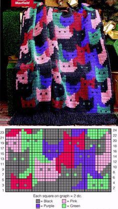 Вяжем крючком детский плед или вышиваем подушку _ Схемы узоров с котятами _ Пост пополняется в комментариях