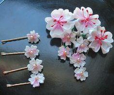 Sakura pendant Custom kanzashi by ~hanatsukuri