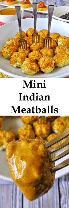 Mini Indian meatballs are really easy to make and are the perfect appetizer at your next party or drinks with a delicious curry coconut sauce for dipping