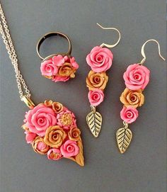 Artisan Handmade Polymer Clay Roses Jewelry Christmas New Year Thanksgiving Gift Pendant Necklace Ring Earring Bridesmaid Personalized Gift Polymer Clay Flowers, Polymer Clay Crafts, Handmade Polymer Clay, Polymer Clay Jewelry, Diy Jewelry Rings, Jewelry Crafts, Jewelry Art, Fantasy Jewelry, Bridesmaid Earrings