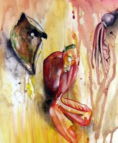 It explores the theme 'suspension': beautiful paintings of rotting fruit and vegetables hanging from string.