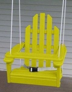 Amazon.com: Children's Adirondack Swing - Rope & Seat Belt Included - Weather Resistant Aspen Wood -16 Inches square x 20 inches High - Made in USA -Buttercup Yellow: Baby