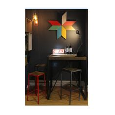 Bar or home office setup with super cool On Air lightbox! #unique #bar #office #lighting #interiors