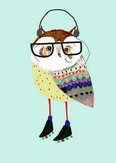 Skating Owl with Headphones. Kids Wall Art. by AshleyPercival, $40.00