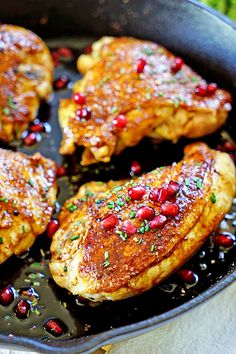 Jordanian Roasted Chicken with Pomegranate Molasses - This is packed with flavor starting with a seasoning rub of cardamom and sumac that gets rubbed under the skin prior to searing, is then roasted with pomegranate molasses, thyme and chicken stock for a juicy, tender and flavorful meal.