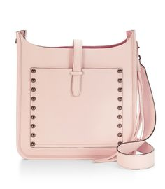 Rose quartz handbags: Unlined Rebecca Minkoff feed bag with some rockin' stud accents
