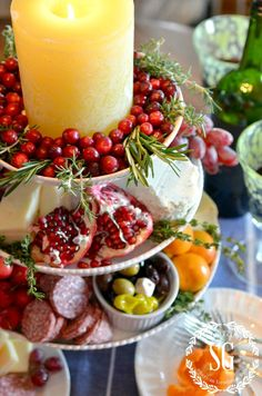 Appetizer display on a cake stand!