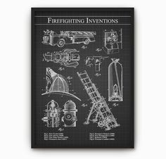 Firefighting Inventions Wall Art Poster  Fireman by QuantumPrints