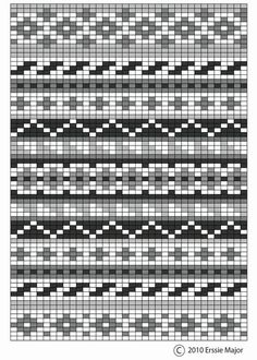 Erssie - Knitting Charts - Small Fair Isle Borders fair isle pattern - beautiful as an embroidery pattern too. border ideas for fair isle designs Always aspired to discove. Fair Isle Knitting Patterns, Bead Loom Patterns, Knitting Charts, Easy Knitting, Knitting Designs, Knitting Stitches, Beading Patterns, Loom Knitting, Embroidery Patterns