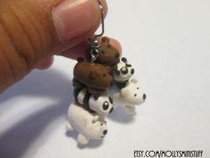 We Bare Bears inspired handmade #bearstack polymer clay hook or clip on earrings