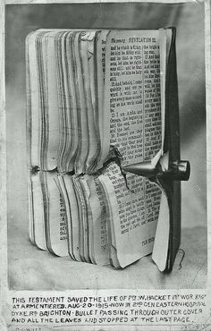 New Testament and Bullet. This cutting was found in a man's possessions when he passed away. We are unsure if he knew the man who was the owner of this unbelievable piece of Godly intervention but it obviously resonated with him. The bullet stopped at the last page!