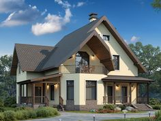 Картинки по запросу внешний дизайн домов с мансардой Modern Bungalow House, Bungalow Homes, Modern House Plans, Self Build Houses, Attic House, Small Cottages, American Houses, House With Porch, Dream House Exterior