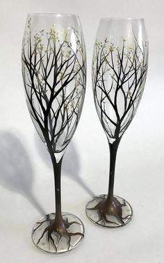 Tree Champagne Flutes Toasting Glass Set Hand Painted Stemware Tulip Style Sophisticated Classy Beautiful Wedding Glassware Fall Autumn