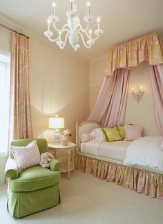 Bed crown canopy with soft swagged full length bed drapery