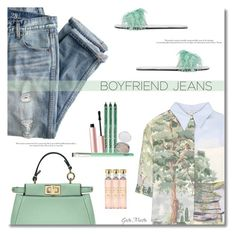 """Borrowed from the Boys: Boyfriend Jeans Nº 2  ... 2017"" by greta-martin ❤ liked on Polyvore featuring J.Crew, STELLA McCARTNEY, Fendi, Prada, NYX, Too Faced Cosmetics, Acqua di Parma, boyfriendjeans and contestentry"