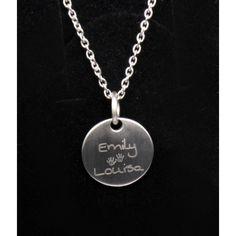 Silberkette mit Namensgravur und Handabdruck