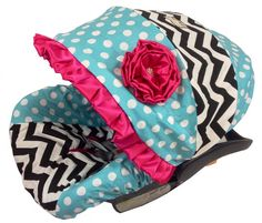Girly Girl Aqua Dot Infant Baby Car Seat Cover includes neck strap covers on Etsy, $95.00