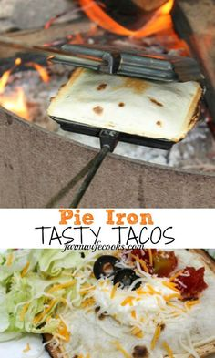 Pie Iron Tasty Tacos Are you looking for a new, easy, make ahead recipe to make during your next camping trip? This Pie Iron Tasty Taco recipe is grea Camping Desserts, Camping Snacks, Go Camping, Camping Cooking, Camping Breakfast, Camping Stuff, Camping Crafts, Camping Cabins, Camping Food Pie Iron