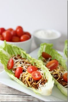 Taco Lettuce Wrap: Use this recipe or your own. Blogger doesn't say use Romaine, but that's what in the pic and makes a nice boat. Reduce those carbs.
