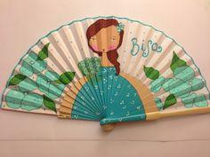 Abanico en tonos verde agua Antique Fans, Vintage Fans, Painted Fan, Hand Painted, Fan Decoration, Minimalist Decor, Diy And Crafts, Workshop, Hand Fans