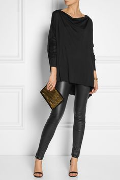 Rick Owens | Oversized jersey top | Helmut Lang | Stretch-leather leggings | Alexander Wang | Antonia leather sandals | Jerome Dreyfuss | Popoche embellished suede pouch |