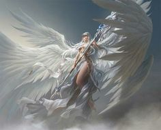 no signature by artist, beautiful warrior angel