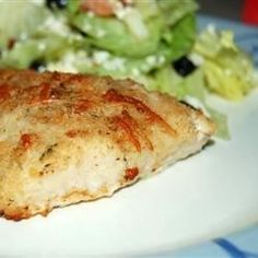 Haddock (or other white fish) is lightly breaded and baked.  Parmesan adds a nice flavor.  Quick and easy to prepare, it's a nice alternative to deep frying.