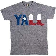Men's Y'ALL Texas Flag T-Shirt   Vintage Texas Y'all Tees   Cool Text TShirts   PalmerCash.com