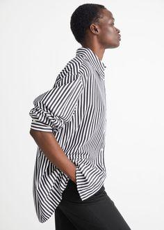 Voluminous Cotton Shirt - Black/White Stripes - Shirts - & Other Stories GB