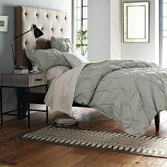 West Elm Cotton Pintuck Duvet Covers in Sea Spray