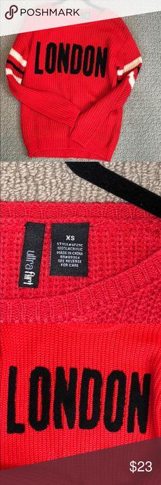 Women's red knit sweater with London in black NWT Women's red knit sweater with London in black NWT Size XS Ultra Flirt Sweaters Crew & Scoop Necks