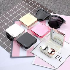 Men's Glasses Eyewear Accessories Strict Easy Carry Mini Mirror Contact Lens Travel Kit Case Storage Holder Container Box