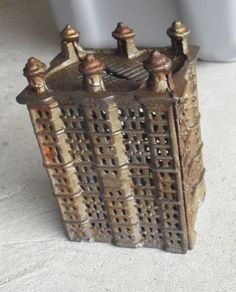 Antique Cast Iron Tall Bank Building Bank
