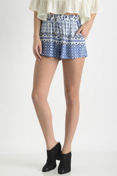 Olivaceous Mixed Floral Border Print Shorts in BLUE MULTI
