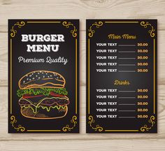 Fiverr freelancer will provide Flyer Design services and design awesome food flyer or poster, restaurant menu including Print-Ready within 1 day Burger Restaurant, Restaurant Hamburger, Menu Burger, Restaurant Menu Template, Restaurant Menu Design, Burger Bar, Menue Design, Menu Card Design, Food Menu Design