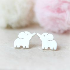 Baby Elephant Earrings / Choose your color / gold and silver by laonato on Etsy https://www.etsy.com/listing/196036872/baby-elephant-earrings-choose-your-color