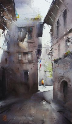 Ilya Ibryaev - French patios - watercolor
